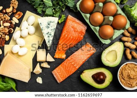 Keto diet food ingredients Royalty-Free Stock Photo #1162659697