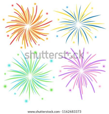 Fireworks on white background, stock illustration