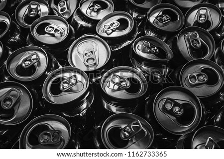 Group of empty aluminium can ready to recycle,close up, black and white picture #1162733365