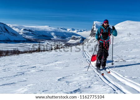 Wintertour on the Kungsleden hiking Trail in Northern Sweden, Sarek with Skierfe Mountain #1162775104