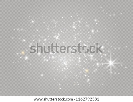 Dust white. White sparks and golden stars shine with special light. Vector sparkles on a transparent background. Christmas abstract pattern. Sparkling magical dust particles. #1162792381