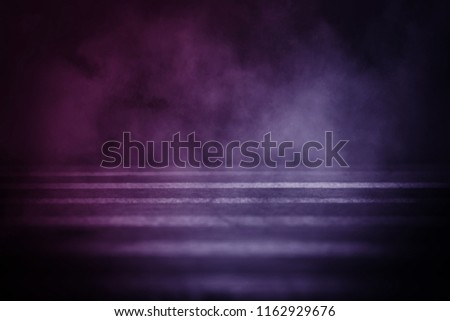Background of an empty room with smoke and neon light. Dark abstract background #1162929676