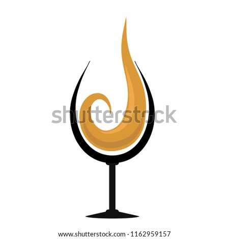 glass with splash of cognac hand drawing for your design, stock illustration