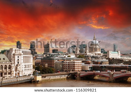City of London one of the leading centers of global finance and St Paul Cathedral on foreground. #116309821