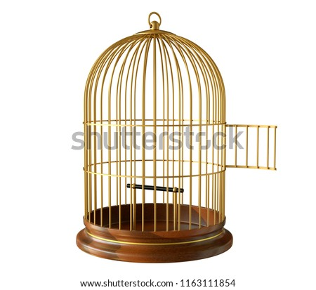 wooden base golden birdcage with open door isolated on white background #1163111854