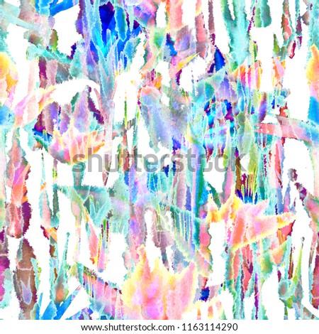 Watercolor Tropical jungle flowers, leaf. Seamless pattern with flowers strelitzia. Nature blossom vivid. Batik print, tie dye. Tile Mottled overlapping painted spots torn edges, blots. #1163114290