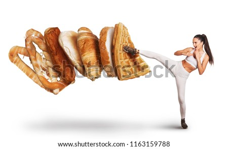 Fit young woman saying NO to unhealthy carbohydrates   #1163159788