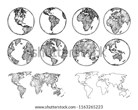 Globe sketch. Hand drawn earth planet with continents and oceans. Doodle world map vector illustration. Planet and world sketch map with ocean and land Royalty-Free Stock Photo #1163265223