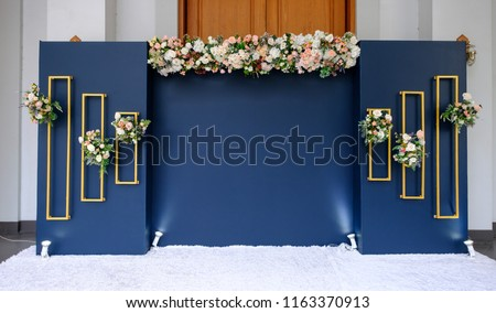 wedding backdrop with flower and wedding decoration #1163370913