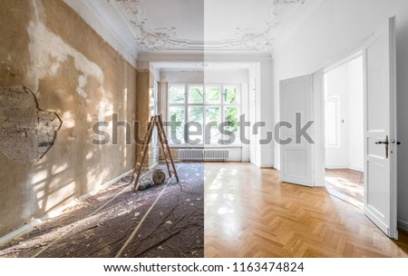 renovation concept - apartment before and after restoration or refurbishment - #1163474824