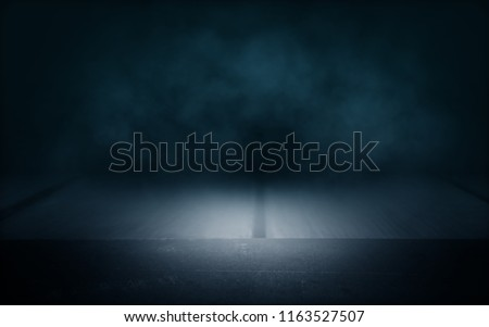background of an empty dark room with neon light. Abstract background with glow and nebula #1163527507