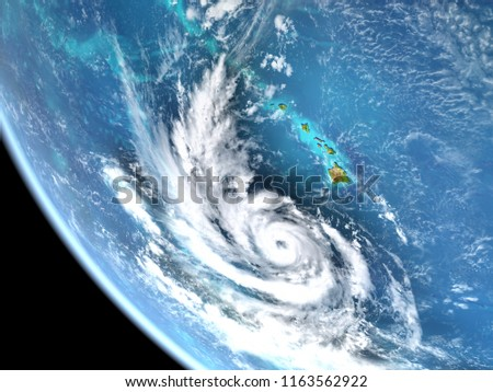 Satellite view of Hurricane Lane approaching Hawaii in August 2018. 3D illustration. Elements of this image furnished by NASA. #1163562922