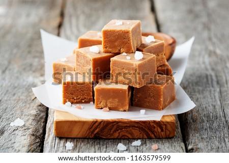 Salted caramel pieces and sea salt. Golden Butterscotch toffee caramels.  #1163579599