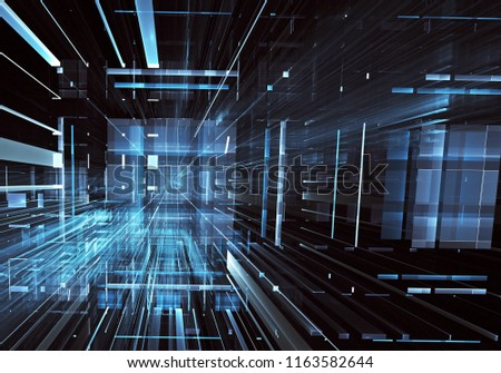 Abstract technology 3D illustration. Pattern, flyer, banner, graphic design #1163582644