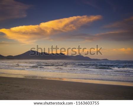 Late afternoon magnificent on the beach of Barra da Lagoa in Florianopolis, Santa Catarina #1163603755
