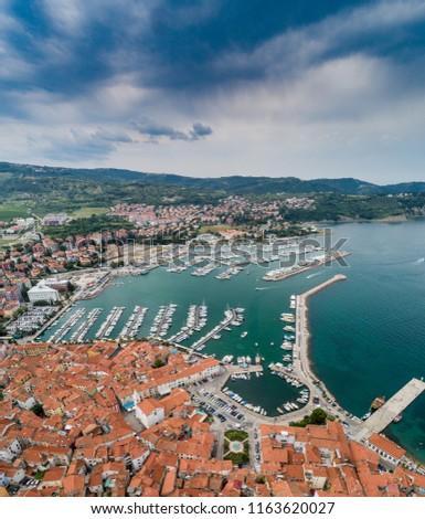 Bird eye view of Izola on Slovenian adriatic coast #1163620027