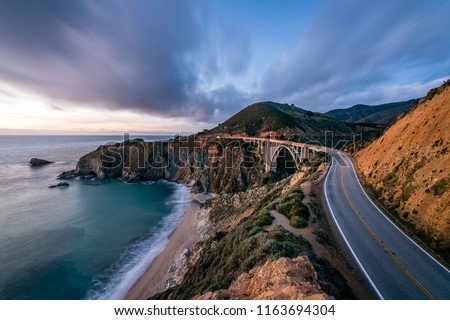 An Evening along the Majestic Pacific Coast Highway from Monterey to Big Sur Royalty-Free Stock Photo #1163694304