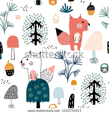 Seamless childish pattern with cute squirrels in the wood. Creative kids city texture for fabric, wrapping, textile, wallpaper, apparel. Vector illustration #1163741011