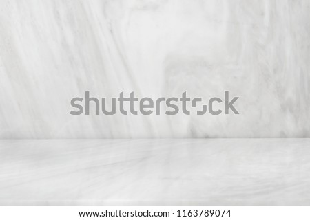 White Marble product stand, Marbling floor background top view for display your packaging or mockup design template. #1163789074