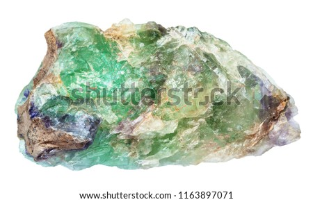 macro shooting of natural mineral - raw green Beryl, Chrysoberyl, Alexandrite gemstone isolated on white backgroung from Ural Mountains #1163897071