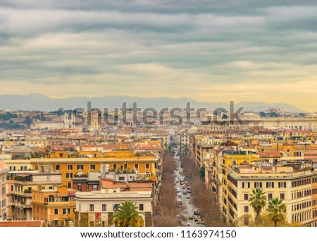 ROME, ITALY, JANUARY - 2018 - Aerial cityscape view of rome city from vatican museum viewpoint. #1163974150