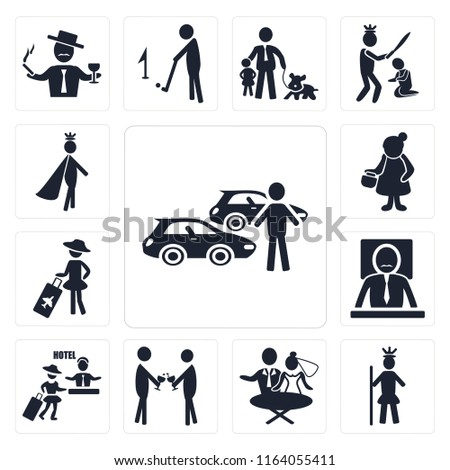 Set Of 13 simple editable icons such as Car collection, Royalty, Newlyweds, Event, Hotel, Boss, Holiday, Woman, Prince, web ui icon pack #1164055411