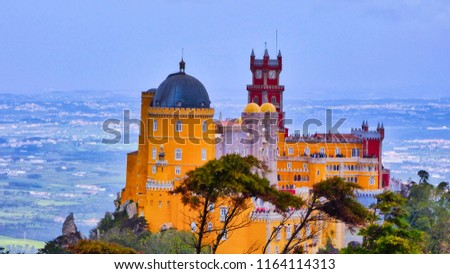 Sintra Pena Palace Portugal Top View #1164114313