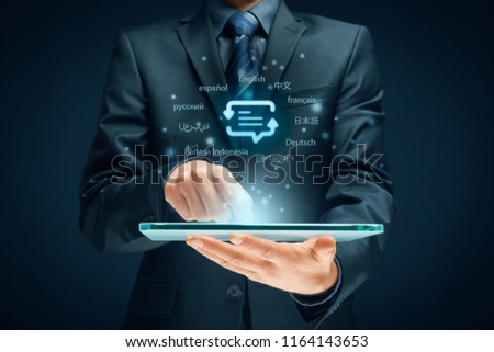 Translator app, language course and e-learning concept. Person with digital tablet, symbol of translation (speech bubble with arrows and abstract text) and top ten internet users languages.