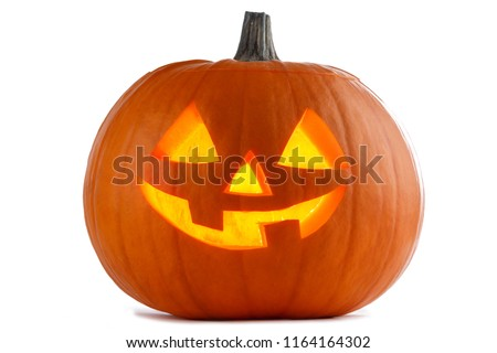 One Halloween Pumpkin isolated on white background #1164164302