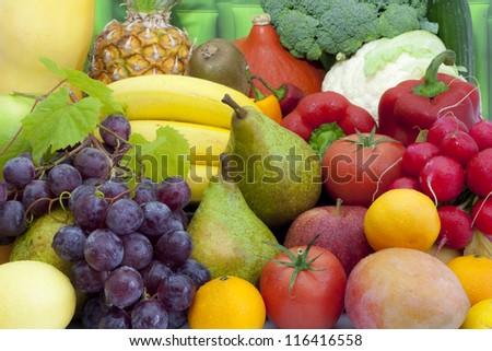 Fruits and vegetables colorful mixed assortment closeup #116416558