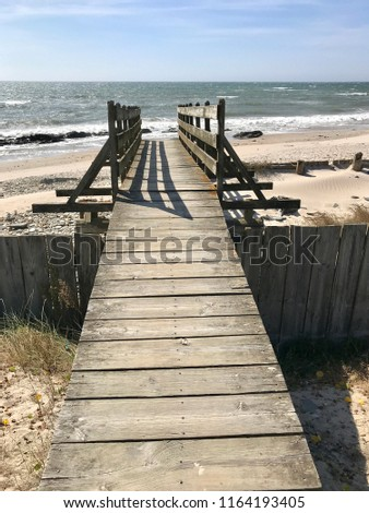 Wooden walkway to the beach in Esposende, Portugal. #1164193405