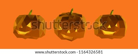 Poly Halloween Pumpkin Vector 3D Rendering #1164326581