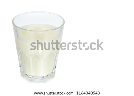 Glass of milk isolated on white background, copy space template. #1164340543