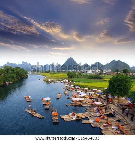 China Guilin landscape raft