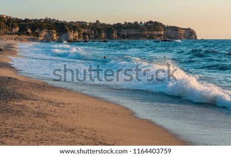 Tropea town beach, Calabria, Italy, Tyrrhenian Sea. People unrecognizable. People unrecognizable. #1164403759