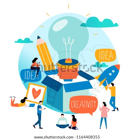 Idea, thinking outside the box, content development, brainstorming, creativity, project and research, creative soutions, learning,education flat design for mobile and web graphics vector illustration Royalty-Free Stock Photo #1164408355