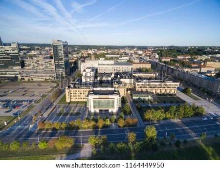 VILNIUS, LITHUANIA - AUGUST 06, 2018: Lithuanian Parliament and National Library In Background #1164449950