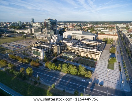 VILNIUS, LITHUANIA - AUGUST 06, 2018: Lithuanian Parliament and National Library In Background #1164449956