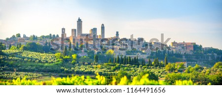 Panorama of the beautiful ancient city of San Gimmignano at sunset, Tuscany, Italy. Europe #1164491656