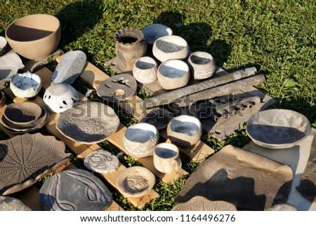 Pottery after burning ceramic kiln #1164496276