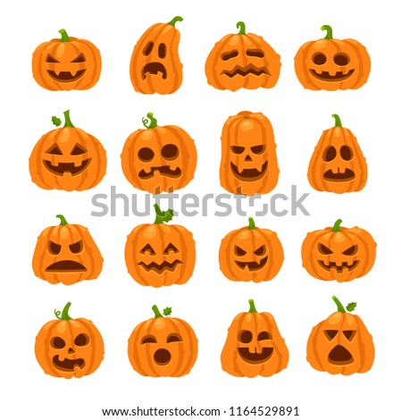 Cartoon halloween pumpkin. Orange pumpkins with carving scary smiling cute glowing faces. Decoration gourd vegetable or holiday spooky happy face, october nature vector isolated icon set