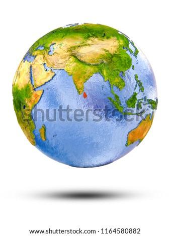 Sri Lanka on globe with shadow isolated on white background. 3D illustration. #1164580882