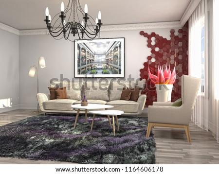 Interior of the living room. 3D illustration #1164606178