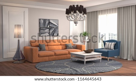 Interior of the living room. 3D illustration #1164645643
