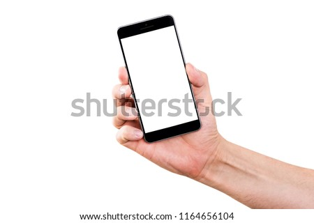 Mobile phone in hand. Black smartphone held by the hand isolated on a white background. Hand holding a black phone with a blank display, ready to be refilled. #1164656104