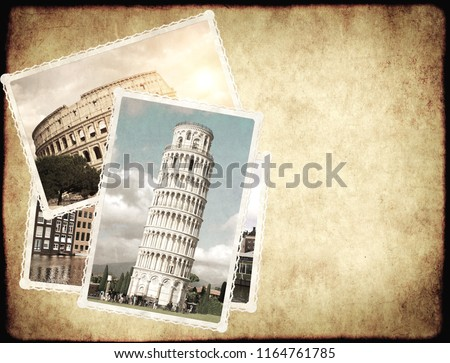 Vintage travel background with old paper texture  and retro photos of european landmarks. Leaning Tower of Pisa, Colosseum in Rome, old houses in Amsterdam