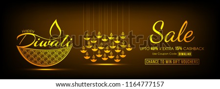 Sale banner or Header design of Diwali, Up To 40% with Extra 15% Off Offer with Happy Diwali text and Diya. #1164777157