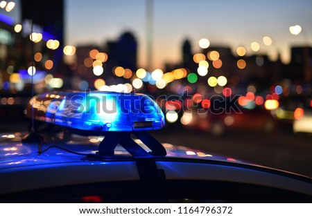 flashers of a police car