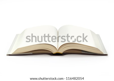 close up of open textbook with blank pages Royalty-Free Stock Photo #116482054