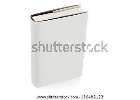 close up of textbook with white hardcover Royalty-Free Stock Photo #116482123